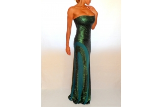 Emerald Green Sequin & Mesh Maxi Dress