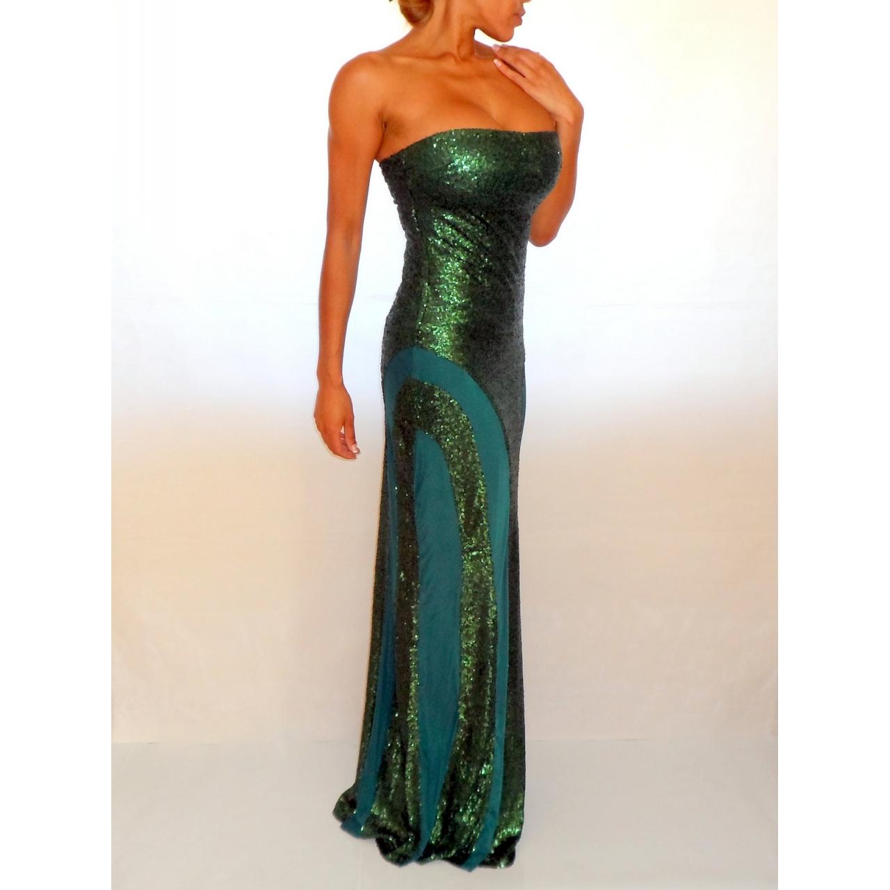 Emerald Green Sequin Amp Mesh Maxi Dress Rocka Frock
