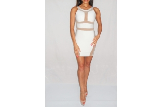 WHITE RAYON CUT OUT BACKLESS BANDAGE DRESS WITH MESH INSERTS