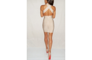 CHAMPAGNE NUDE RAYON DEEP PLUNGE BACKLESS BANDAGE DRESS