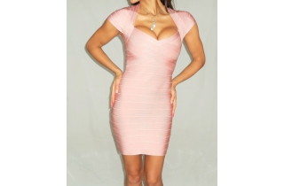 NUDE PINK RAYON CAP SLEEVE BANDAGE DRESS