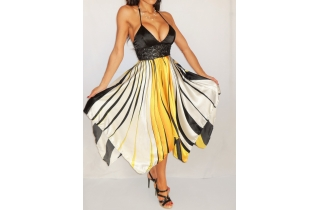 YELLOW BLACK WHITE STRIPED HANDKERCHIEF SILK STYLE DRESS