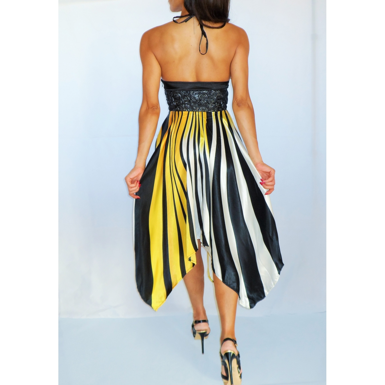 Yellow Black White Striped Handkerchief Silk Style Dress