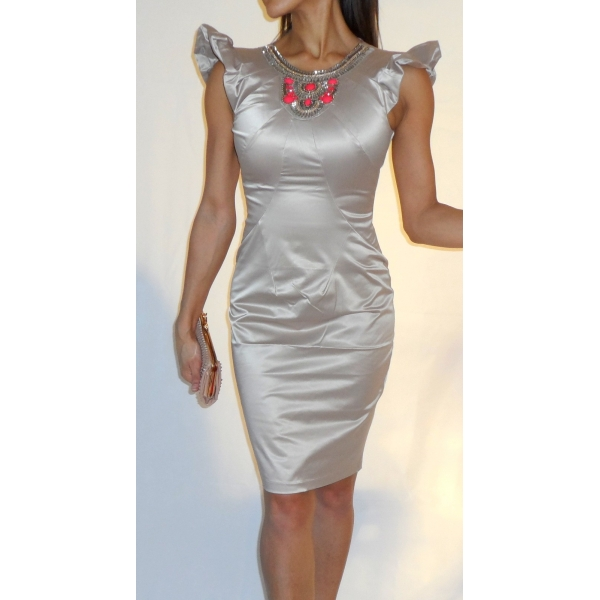 OYSTER NUDE AND CORAL GEM WIGGLE DRESS