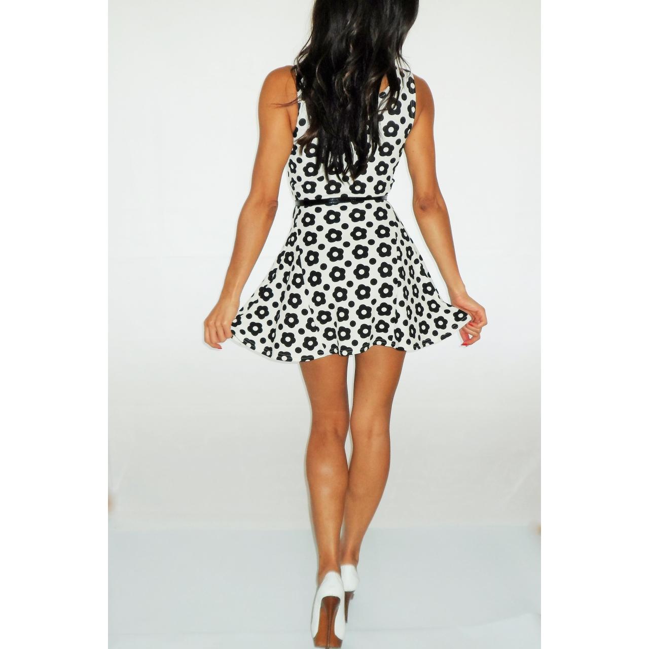 Black And White Flower Print Skater Dress Rocka Frock