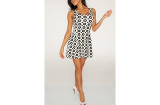 BLACK AND WHITE FLOWER PRINT SKATER DRESS