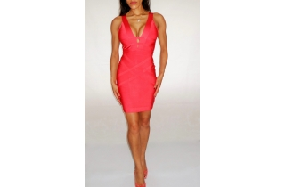 CORAL DEEP PLUNGE RAYON BANDAGE DRESS WITH NETTED BACK