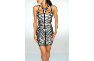 BLACK AND WHITE OPTICAL BANDAGE DRESS WITH CUT OUT BUST