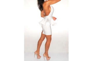 WHITE DEEP PLUNGE PEPLUM BACKLESS BANDAGE DRESS