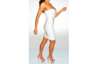 WHITE PANELLED BANDEAU BANDAGE DRESS