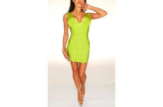 NEON LIME DEEP PLUNGE BACKLESS PANELLED BANDAGE DRESS