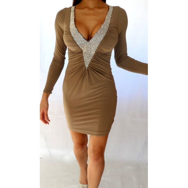 MOCHA NUDE DEEP PLUNGE CRYSTAL DRESS