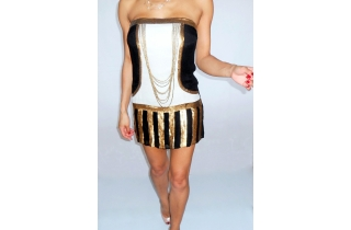 VINTAGE SEQUIN AND CHAIN BANDEAU FLAPPER STYLE TUNIC DRESS
