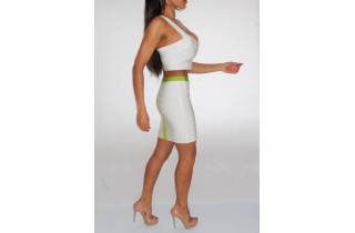 WHITE TWO PIECE BANDAGE BRALET AND SKIRT WITH NEON LIME PANELLING