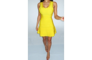 NEON YELLOW SCALLOPED BANDAGE SKATER DRESS