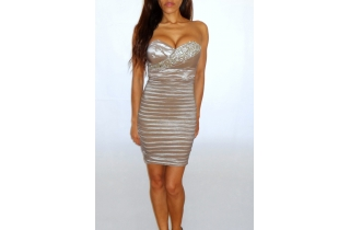 CHAMPAGNE NUDE BANDAGE STYLE BODYCON DRESS WITH CRYSTAL BUST