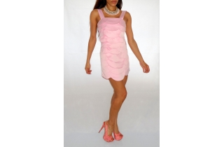 BABY PINK SCALLOP CUT SILK STYLE DRESS BY GESTUZ
