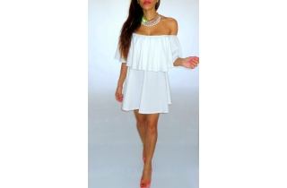 LITTLE WHITE BANDEAU RUFFLE FRILL SKATER DRESS