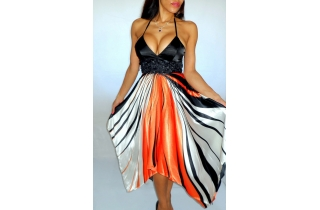 FLAME ORANGE BLACK WHITE STRIPED HANDKERCHIEF SILK STYLE MAXI DRESS