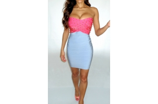 NEON PINK AND BLUE STUDDED RIVET RAYON BANDAGE DRESS