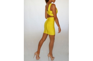 LEMON YELLOW DEEP PLUNGE BACKLESS CUT OUT PANELLED BANDAGE DRESS