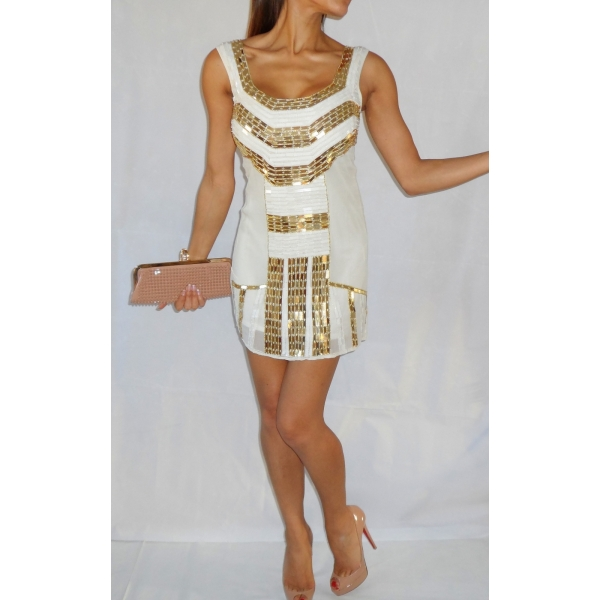 GOLD & WHITE SEQUIN EMBELLISHED FLAPPER DRESS
