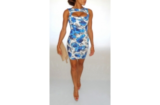 BLUE AND WHITE CUT OUT FLORAL BODYCON DRESS