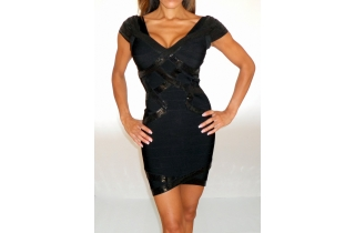 MIDNIGHT BLACK SEQUIN RAYON CAP SLEEVE BANDAGE PLUNGE DRESS