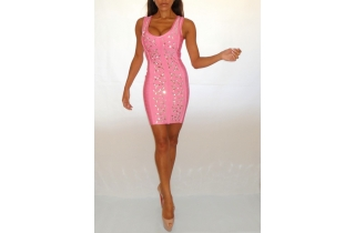 BABY PINK CRYSTAL RAYON BANDAGE PLUNGE DRESS