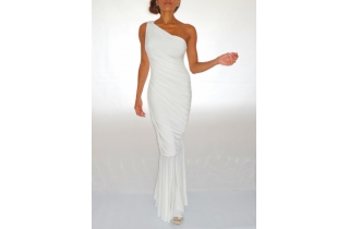 WHITE GRECIAN MAXI BODYCON DRESS WITH ONE SHOULDER CRYSTAL EMBELLISHMENT