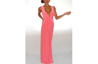 CORAL PINK DEEP PLUNGE KNOTTED MAXI DRESS