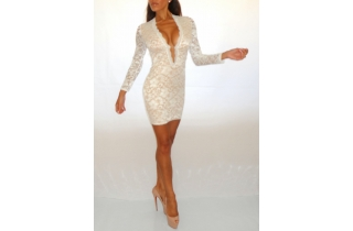OFF WHITE CREAM DEEP PLUNGE LACE BODYCON DRESS