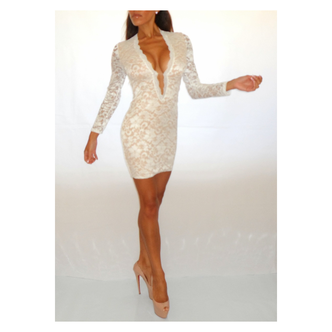2d5ee3eb8261 OFF WHITE CREAM DEEP PLUNGE LACE BODYCON DRESS - Rocka Frock