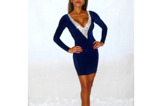 NAVY BLUE DEEP PLUNGE CRYSTAL DRESS