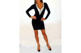 BLACK DEEP PLUNGE CRYSTAL MESH DRESS