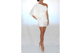 WHITE GRECIAN BODYCON DRESS WITH ONE SHOULDER GOLD CHAIN EMBELLISHMENT