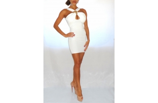 WHITE BACKLESS GRECIAN BODYCON DRESS GOLD DISC EMBELLISHMENTS