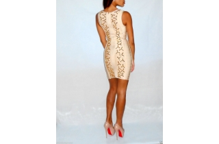 Nude Gold Rayon Crystal Bandage Dress