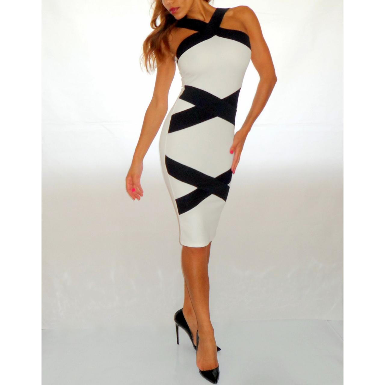 Black Amp White Optical Illusion Bandage Style Bodycon Dress