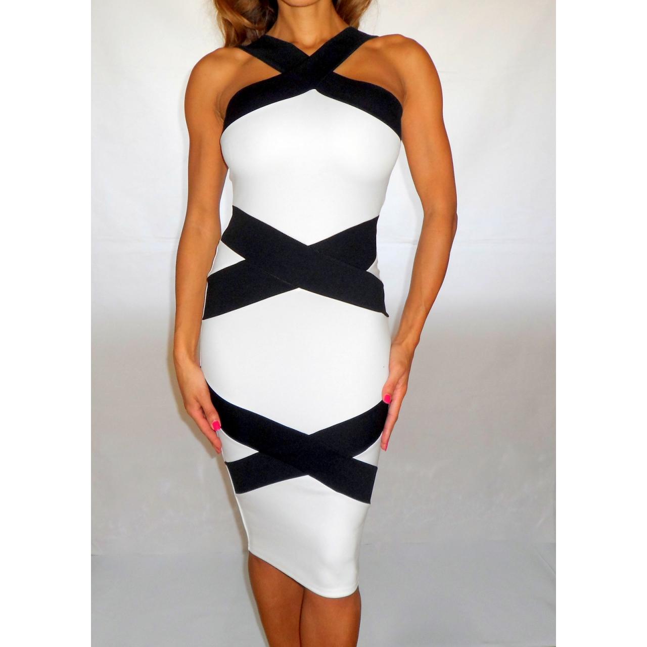 a741579e Black & White Optical Illusion Bandage Style Bodycon Dress - Rocka Frock