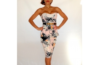 Nude Pink Bandeau Bodycon Floral Print Mirror Belt Dress