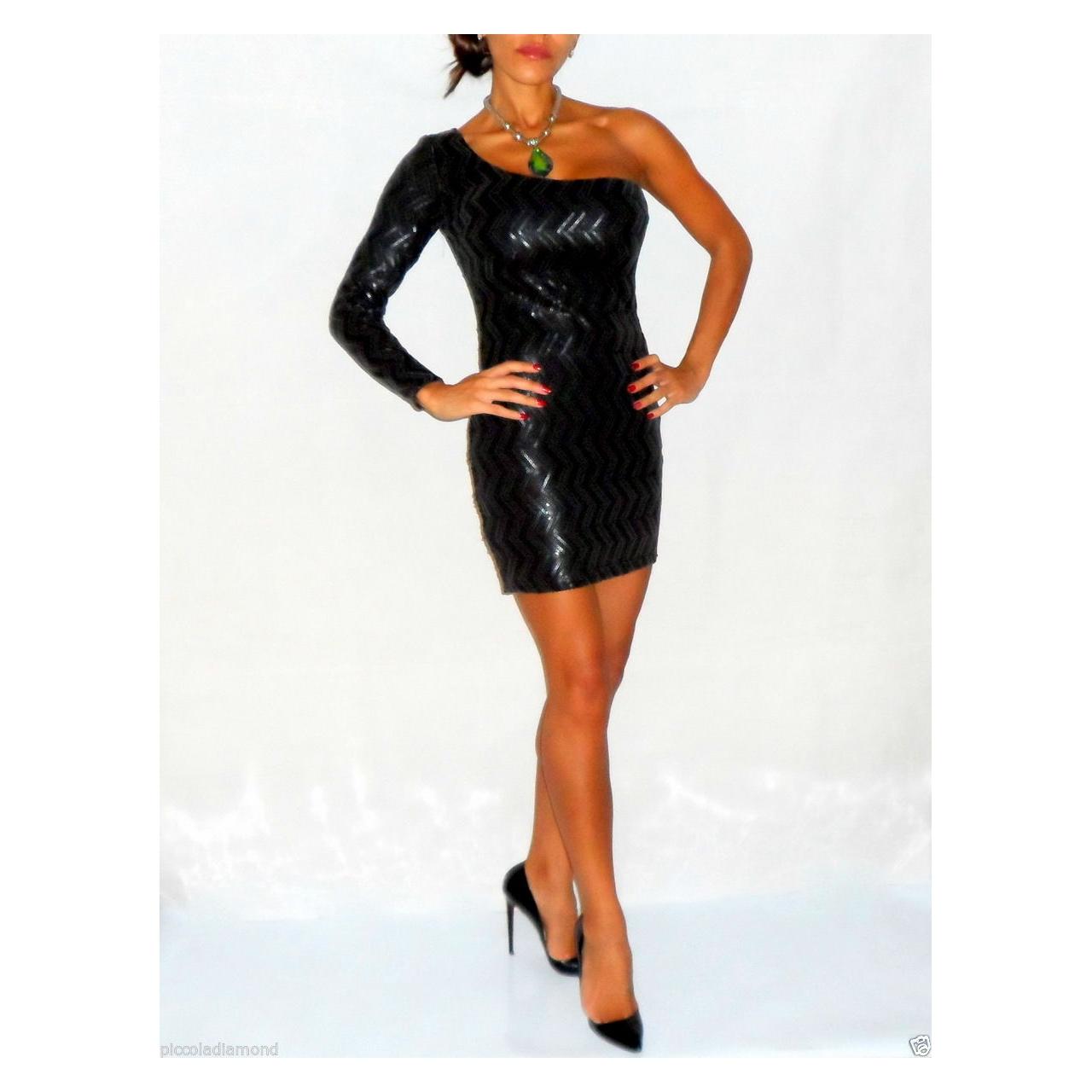Gunmetal Black Sequin One Shoulder Bodycon Wiggle Dress