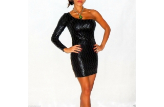 Gunmetal Black Sequin One Shoulder Bodycon Wiggle Dress