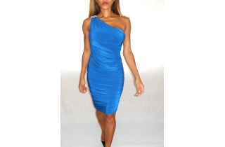 Cobalt Blue Grecian Bodycon Dress With One Shoulder Crystal Embellishment