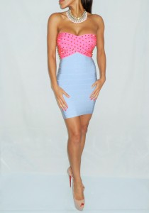 Pink and Blue Studded Bandage dress