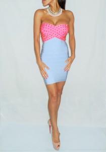 Pink and Blue Studded Bandage dress