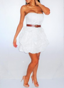White Brocade Anglais Dress