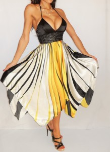 Yellow handkerchief dress maxi